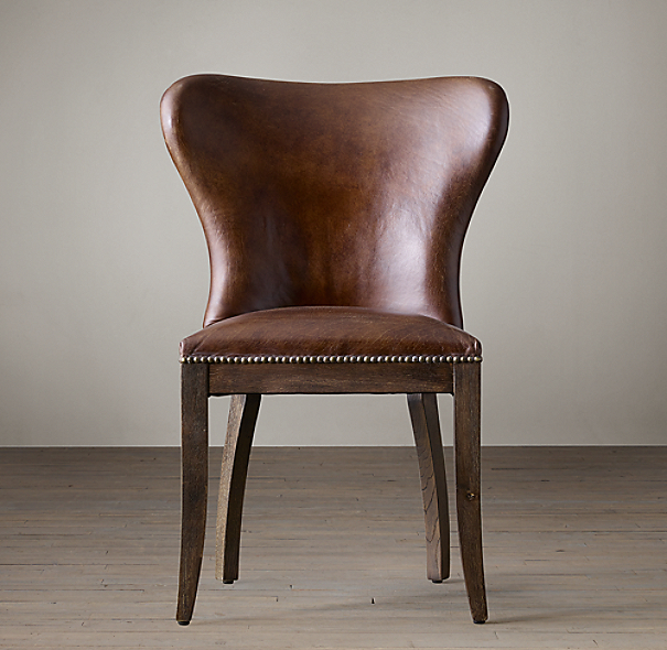 1940s wingback leather side chair for Leather wingback dining chair