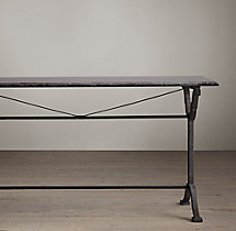 Bluestone & Cast Iron Pedestal Rectangular Dining Table
