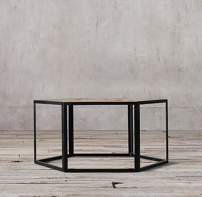 Hexagonal Azobe Wood Steel Coffee Table - Hexagon wood coffee table