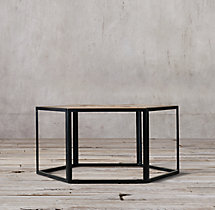 Hexagonal Azobe Wood & Steel Coffee Table