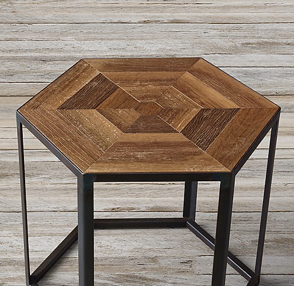 Hexagonal Azobe Wood Amp Steel Side Table