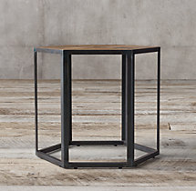 Hexagonal Azobe Wood & Steel Side Table