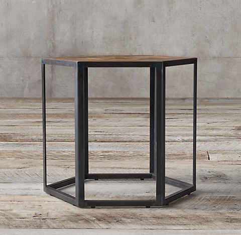Hexagonal azobe wood steel side table - Restoration hardware entry table ...
