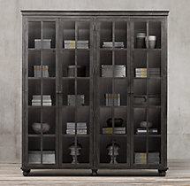 Annecy Metal-Wrapped Glass 4-Door Cabinet