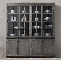 Annecy Metal-Wrapped Glass 4-Door Sideboard & Hutch