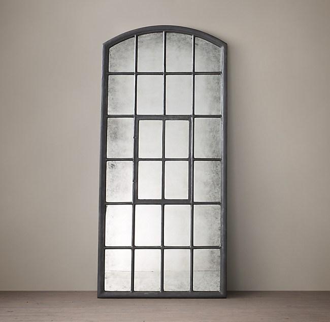 1930s American Factory Window Leaner Mirror