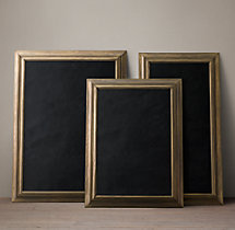 English Aged Chalkboard –  Antique Brass