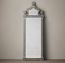 19Th C. Baroque Ravenna Etched Leaner Mirror