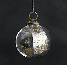 Vintage Handblown Faceted Ball Ornaments - Smoke