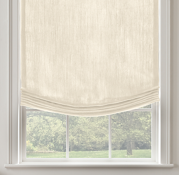 Belgian heavyweight textured linen relaxed roman shade for Restoration hardware window shades