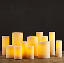 Remote Control Wax Flameless Pillar Candle - Ivory