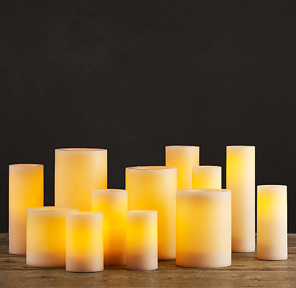 Battery Operated Wax Flameless Pillar Candle Ivory