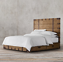 Heirloom Silver-Chest Platform Storage Bed