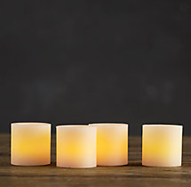 Battery-Operated Wax Flameless Votives (set of 4)