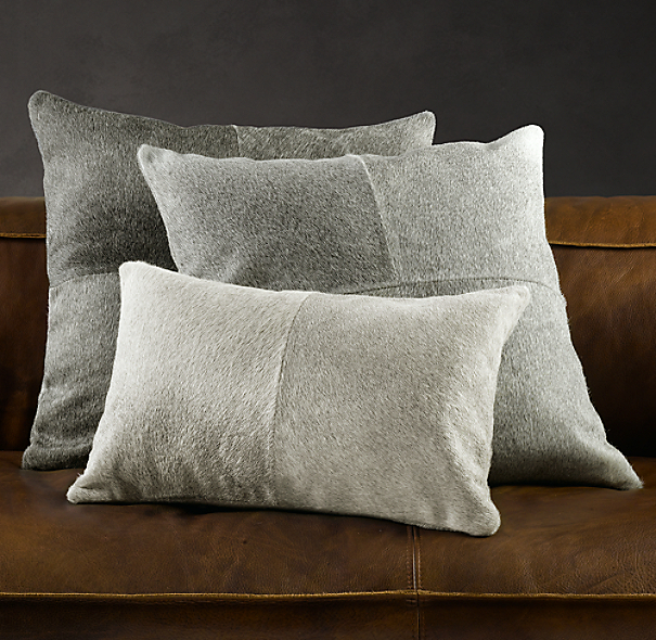 Rh Modern Pillows : South American Cowhide Pillow Cover - Grey