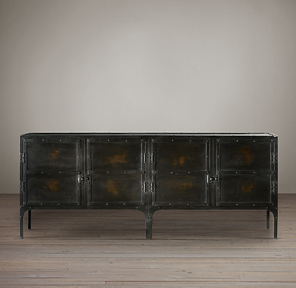 Restoration Hardware Console Table: Industrial Tool Chest Sideboard