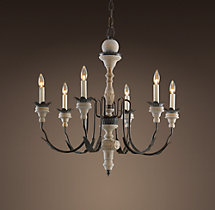 Parisian Wood & Zinc Chandelier 31""