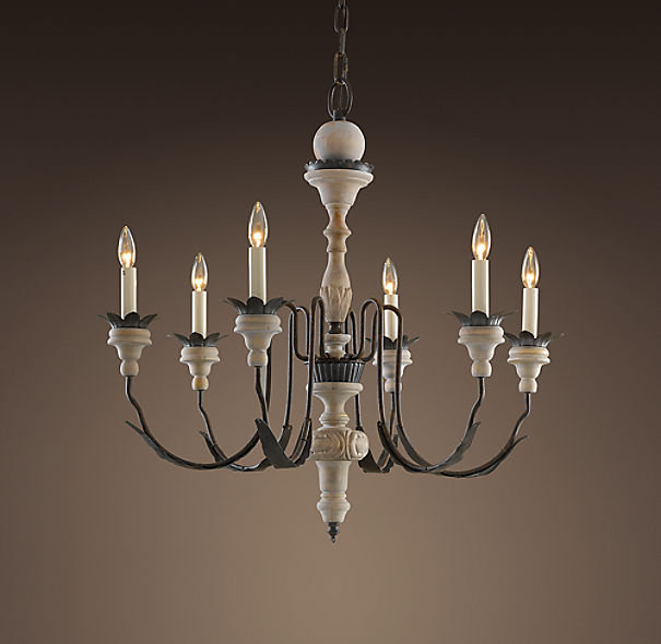 Restoration Hardware Light Fixture Sale: Parisian Wood & Zinc Chandelier 31""