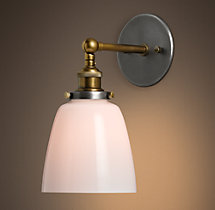 20th C. Factory Filament Milk Glass Cloche Sconce