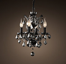 19th C. Rococo Iron & Smoke Crystal Round Chandelier 13""