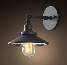 20th C. Factory Filament Reflector Sconce
