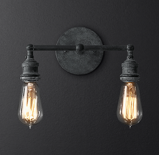 20th C Factory Filament Bare Bulb Double Sconce