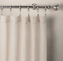 Pinstripe Sheer Belgian Linen Drapery - Rod-Pocket