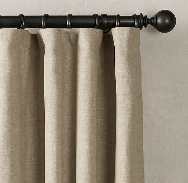 Belgian Textured Linen Drapery Rod Pocket