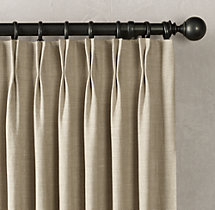 Belgian Textured Linen Drapery - French-Pleat