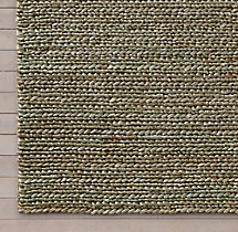 Chunky Hand-Braided Jute Rug Swatch - Silver