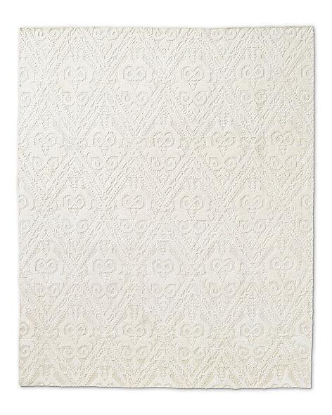 Floral Chevron Rug - Cream