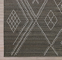 Sarto Embroidered Flatweave Rug Swatch - Charcoal