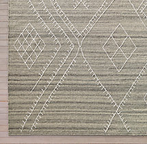 Sarto Embroidered Flatweave Rug Swatch - Grey