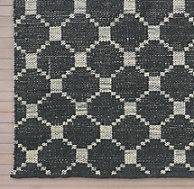 Braided Octagon Wool Rug Swatch - Charcoal