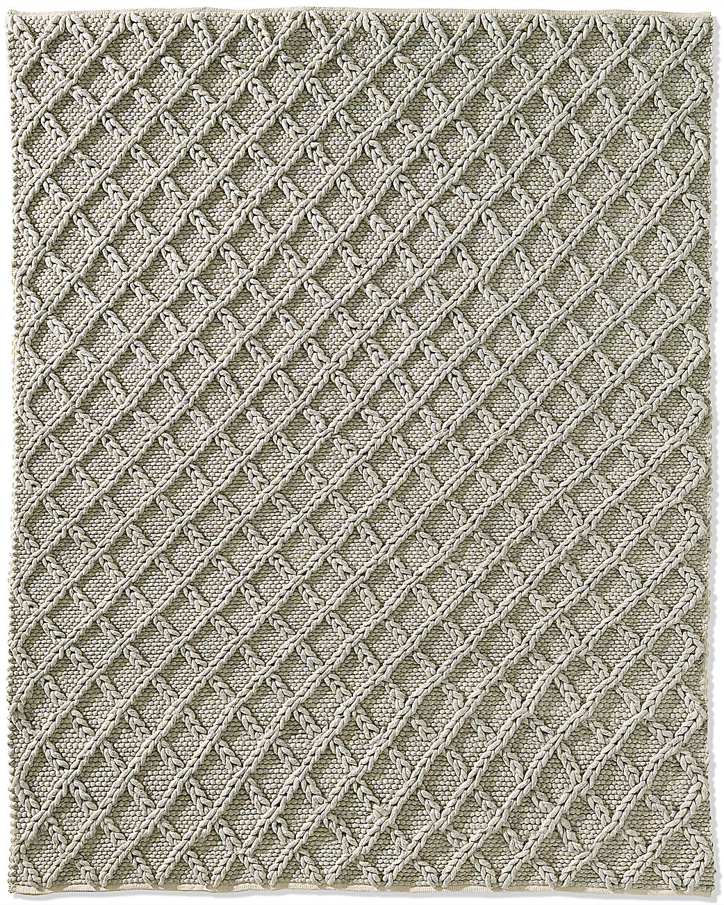 Raised Diamond Wool Rug - Fog