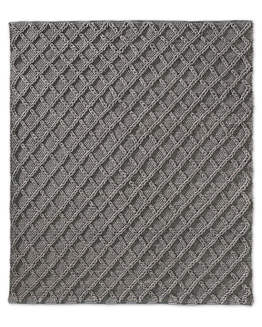 Raised Diamond Wool Rug - Grey