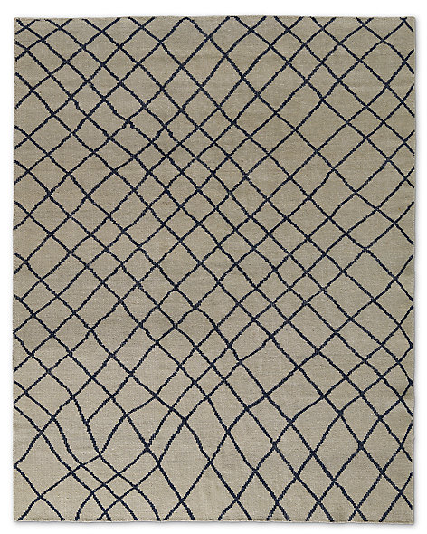 Sketched Diamond Rug - Navy