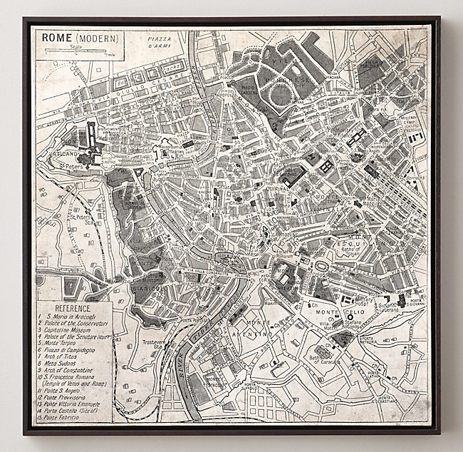 Vintage Aerial Maps Of European Cities Rome