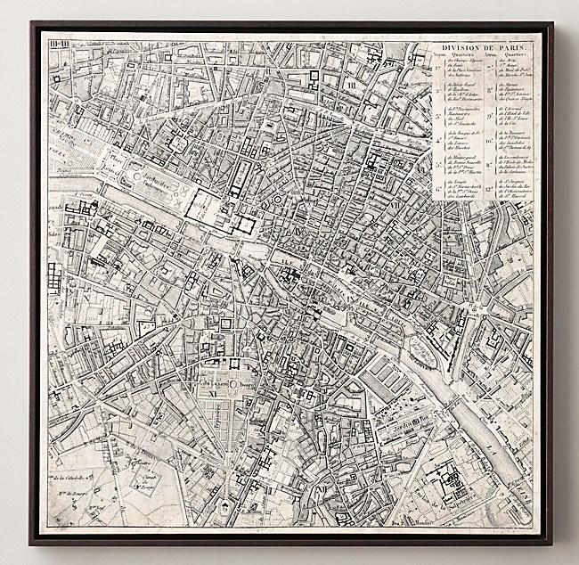 Aerial Maps Of European Cities Paris - Restoration hardware paris map