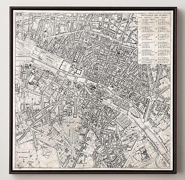 Vintage European Map Vintage Aerial Maps of