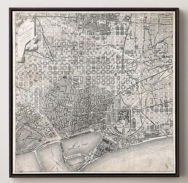 Vintage aerial maps of european cities barcelona - Mobles vintage barcelona ...