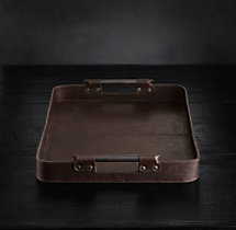 Italian Leather Large Rectangular Tray