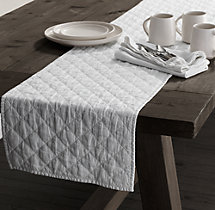 Garment-Dyed Linen Diamond-Quilted Runner