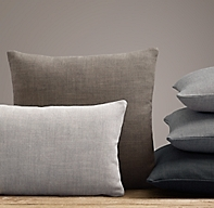 Rh Modern Pillows : Custom Perennials Classic Linen Weave Knife-Edge Pillow Cover