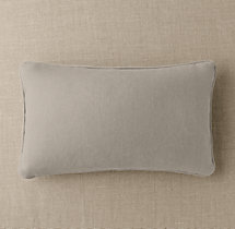 Custom Basket Weave Linen Piped Lumbar Pillow Cover