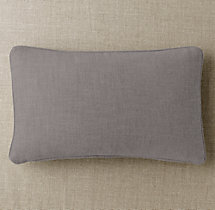 Custom Perennials® Textured Linen Weave Piped Lumbar Pillow Cover