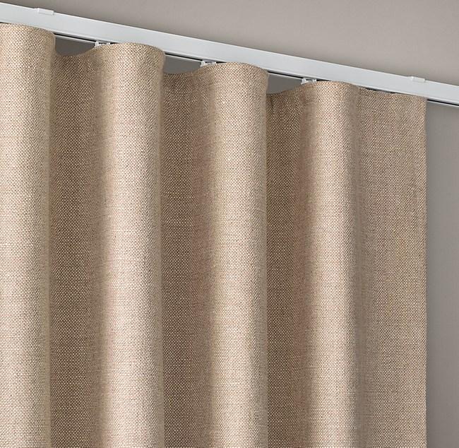 Custom Belgian Linen Cross Weave Ripple Fold Drapery
