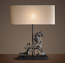 French Rococo Gate Artifact Table Lamp - Left