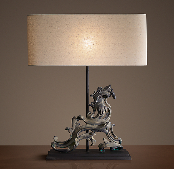 French Rococo Gate Artifact Table Lamp Left