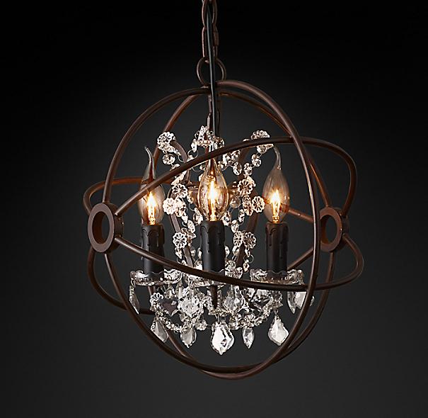 "Restoration Hardware Lighting Orb: Foucault's Orb Clear Crystal Chandelier 14"""
